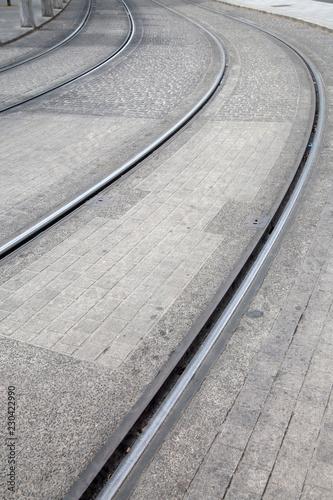 Photo  Tram Line Curves; Dublin
