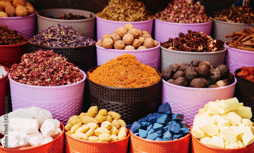 Herbs and spices market in the middle east traditional souk