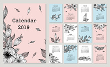 Cute Monthly Calendar 2019 With Flowers And Leaf. Hand Drawn Vector Illustration