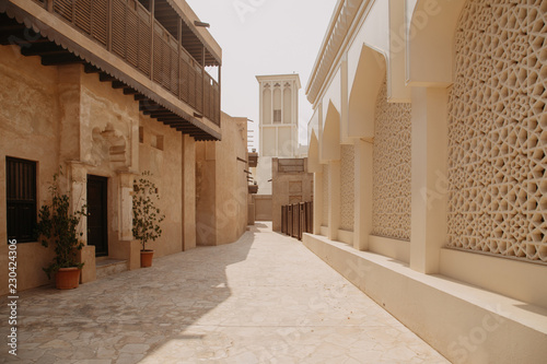 Old town in Al Fahidi Historical District. Dubai city, UAE