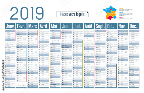 Calendrier 2019 Vectoriel.Calendrier 2019 Grand Format Horizontal Buy This Stock