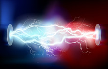 High Voltage Electric Discharge. Vector Illustration.