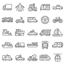 Set Of Vehicle And Public Transportation Isolated Black Line Icon With Modern Concept Editable Stroke And Simple Concept, Use For Infographic Design And Pictogram Asset, Vector Eps 10