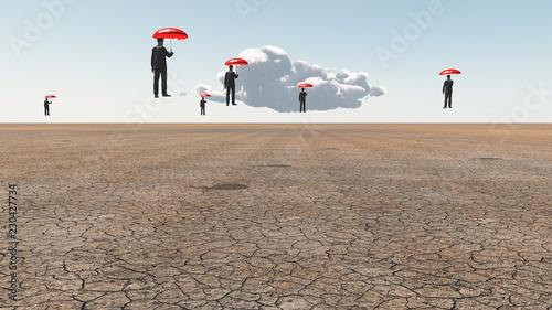 Men with red umbrellas. Arid land Wallpaper Mural