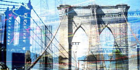 Fototapeta Mosty Brooklyn and Manhattan bridges