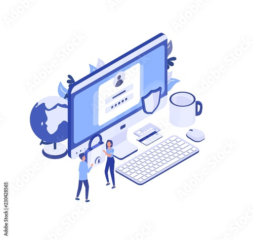 Large Computer With Access Window On Screen Pair Of Managers Carrying Padlock And Protective Shield Personal Data Protection Digital Information Safety Creative Isometric Vector Illustration Buy This Stock Vector And Explore