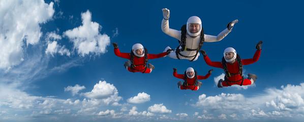 Fototapeta 4 Skydiver Rot Weiß CG Render