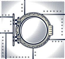 Monochrome Ship Porthole On Metallic Wall