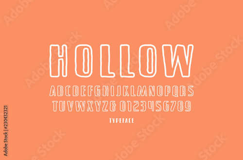 Fotografia Hollow sans serif font in the style of handmade graphics