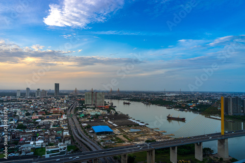 Poster de jardin Paris cityscape in moring with blue sky and river with hang bridge