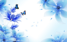 Light Background With Blue Air Lilies And Flying Butterflies