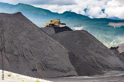 Coal: Moving a pile of coal with a D8 Cat Wallpaper Mural