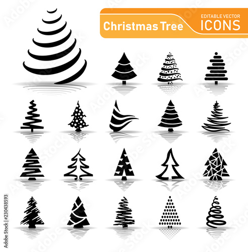 Fototapeta Christmas Tree - Icons obraz