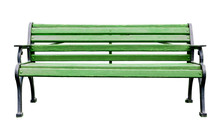 Painted Green Wooden Bench With Metal Legs And Armrest, Isolated On A White Background