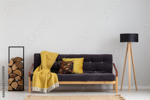 Fotografia  Log of wood next to comfortable sofa with yellow blanket and pillows, stylish wo