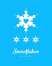 Snowflakes Set, Romantic Heart Shape, Blue And White.