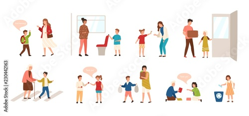 Obraz Collection of well-behaved kids isolated on white background. Set of children demonstrating good manners - open door, helping old lady to cross road, offering seat to woman. Vector illustration. - fototapety do salonu