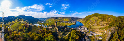 Tuinposter Wijngaard Aerial view, Poltersdorf with vineyards and the castle Metternich, Mosel, Cochem-Zell district, Rhineland-Palatinate, Germany
