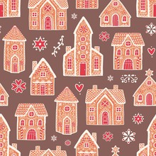 Seamless Pattern With Sweet Delicious Gingerbread Houses And Decorated With Sugar Icing. Backdrop With Tasty Dessert Products On Dark Background. Colorful Vector Illustration In Flat Cartoon Style.