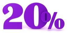 Savings Discount 20 % Percent Percentage Sign 3d Purple Sale Promotion Render