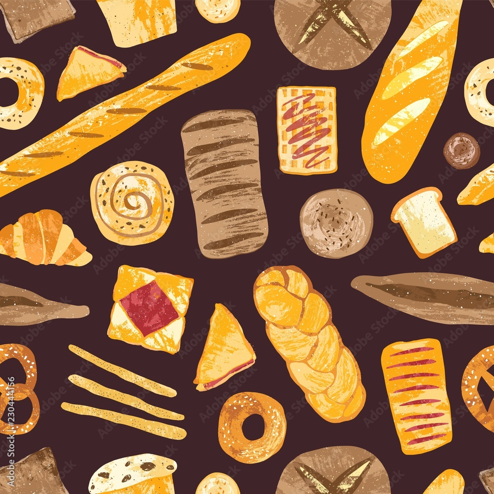 Fotografia Elegant seamless pattern with delicious breads, baked desserts or sweet pastry, dough products on black background