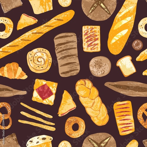 Stampa su Tela Elegant seamless pattern with delicious breads, baked desserts or sweet pastry, dough products on black background