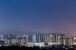 Urban residential condominium during blue hour view