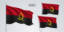 Angola Waving Flag Set Of Vect...