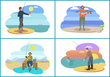 Fishing Set Active People Vector Illustration