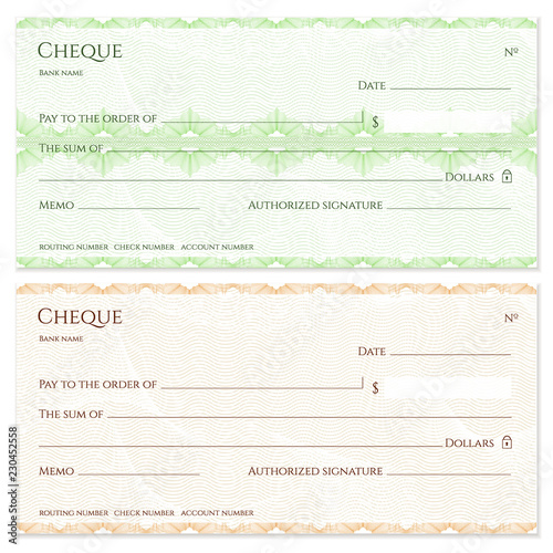 Check Cheque Chequebook Template Guilloche Pattern With Green Abstract Fl Watermark Border Background For Banknote Money Design Currency