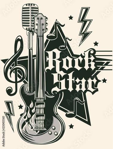 Plakaty Instrumenty Muzyczne   rock-star-music-emblem