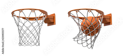 Obraz na plátně 3d rendering of two basketball nets with orange hoops, one empty and one with a ball falling inside