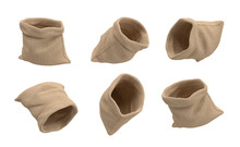 3d Rendering Of Six Open Hessian Money Bags Flying On A White Background With Nothing Inside.