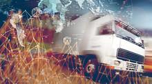 Diseño Abstracto De Envío Internacional Y Logistica.Camión Y Mapa Del Mundo.Concepto De Transporte Y Mercancia.