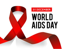 World Aids Day. Illustration With Red Ribbon