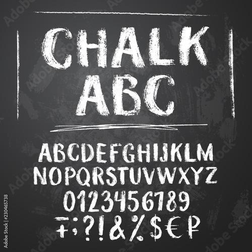 Photo Rough chalk latin alphabet