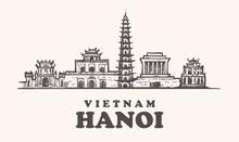 Hanoi Skyline, Vietnam Vintage Vector Illustration Hand Drawn Buildings.