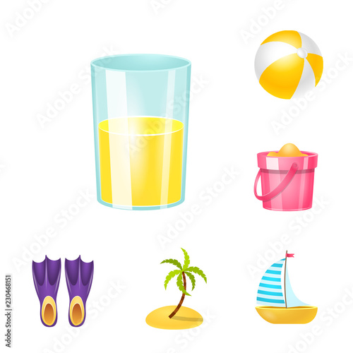Photo  Vector illustration of equipment and swimming symbol