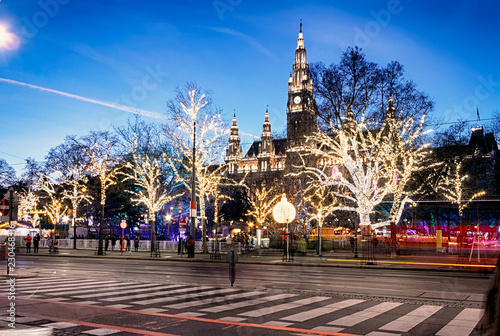 Rathaus (Town Hall) at Rathausplatz at twilight in Christmas time, Innere Stadt, Vienna, Austria.
