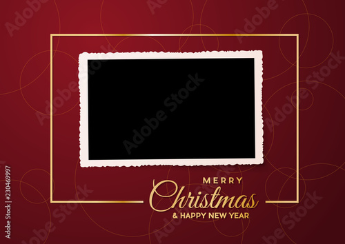 Obraz Merry Christmas, empty background and blank photo, made with golden frame and text - fototapety do salonu
