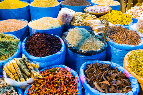 Spices market in main bazzar in the medina of Capital city Rabat in Morocco