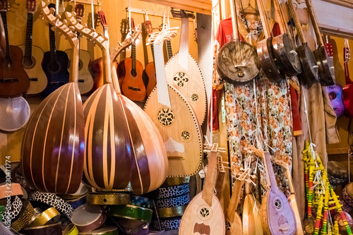La pose en embrasure Magasin de musique A music shop in the old medina medina of Rabat in Morocco in Africa