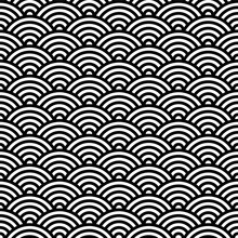 Seamless Pattern With Rounded Wave. Vector