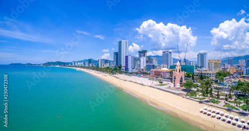 Panorama of the city of Nha Trang in Vietnam from drone point of view Canvas Print