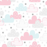 Cute hand drawn clouds Seamless pattern. vector illustration - 230472580