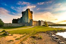 Ross Castle In Killarney At Sunset, Ireland. Old Scenic Architecture Landmark