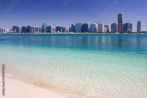 Canvas Prints Abu Dhabi View on Abu Dhabi Public Beach, Al-Khalidiya and skyscrapers UAE