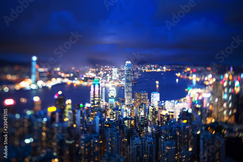 Spoed Foto op Canvas Aziatische Plekken Hong Kong from Victoria peak, ltilt shift photo