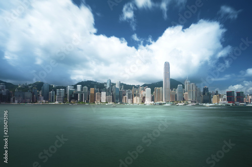Spoed Foto op Canvas Aziatische Plekken Hong Kong harbour, long exposition