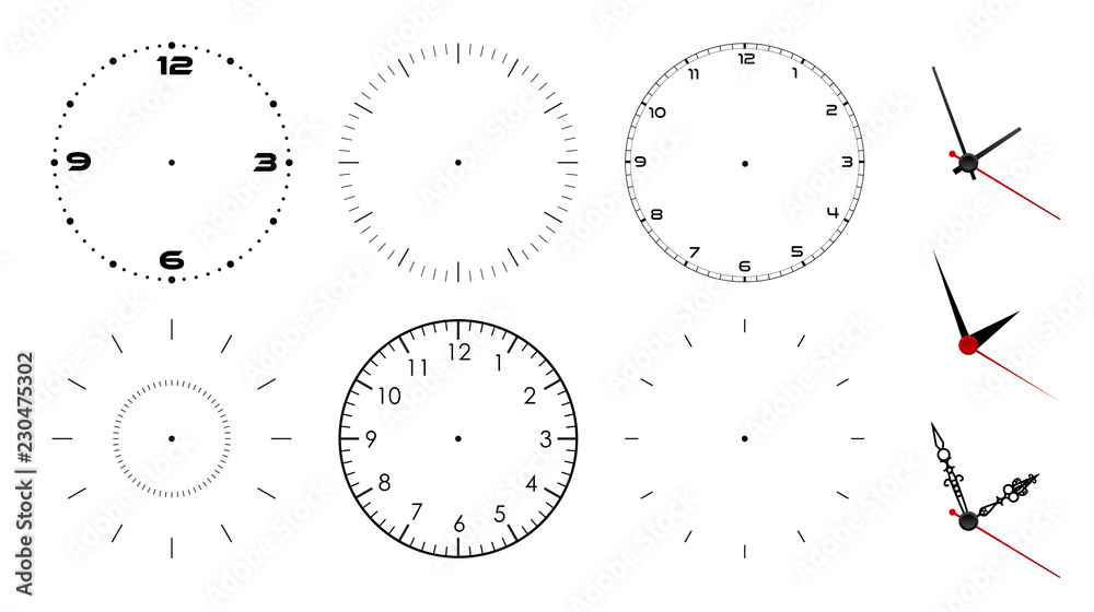 Fototapety, obrazy: Clock face blank isolated on white background. Vector clock hands. Set for watch design